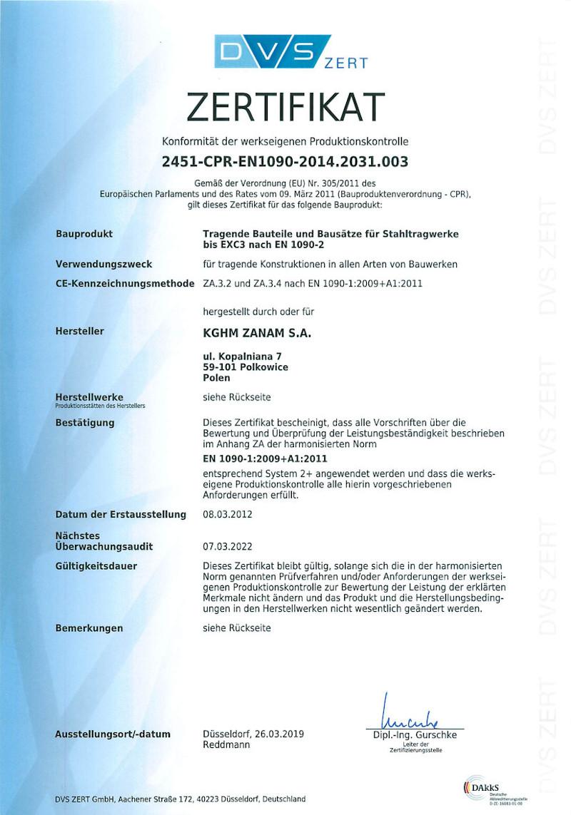 Zertifikat Konformität der werkseigenen Produktionskontrolle
