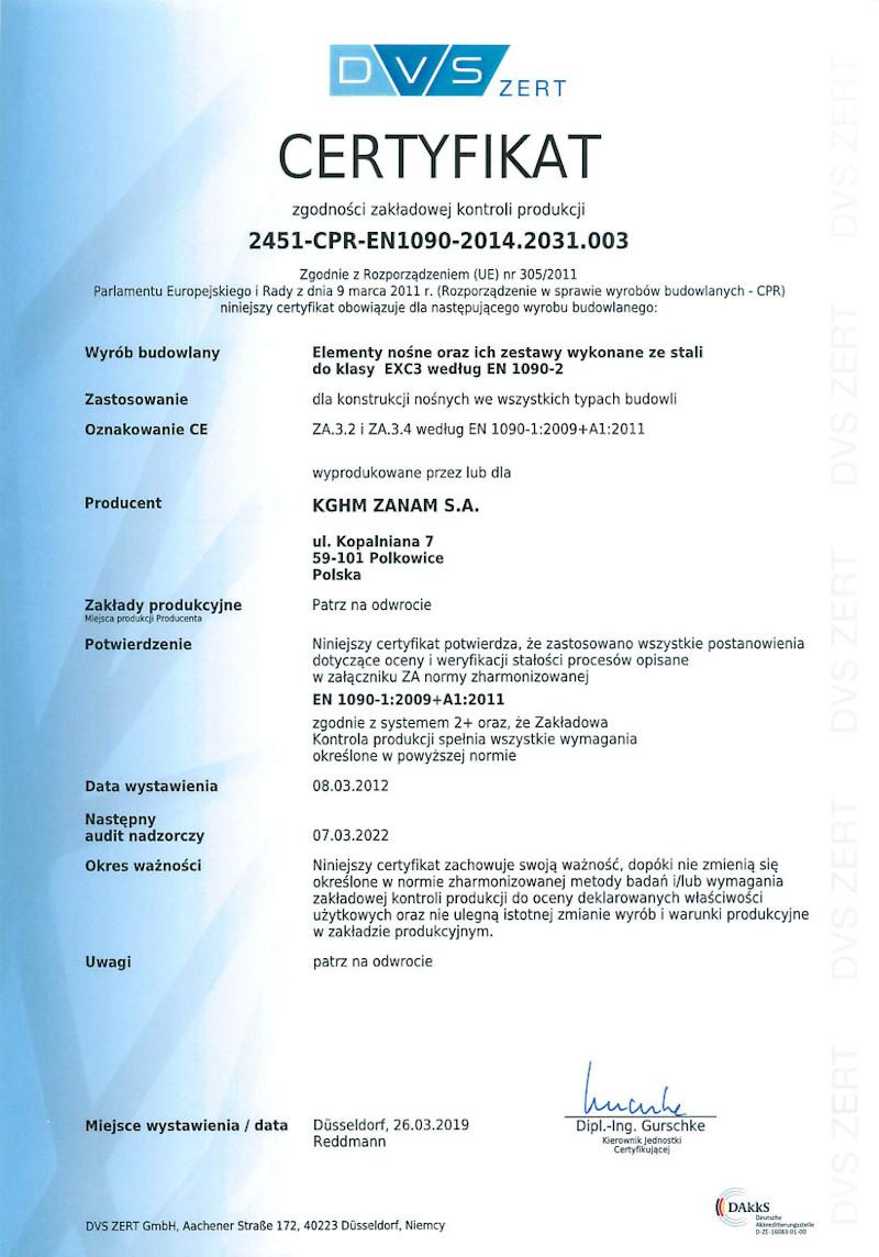 Certyfikat Zintegrowanego Systemu Zarządzania - Jakość i Środowisko