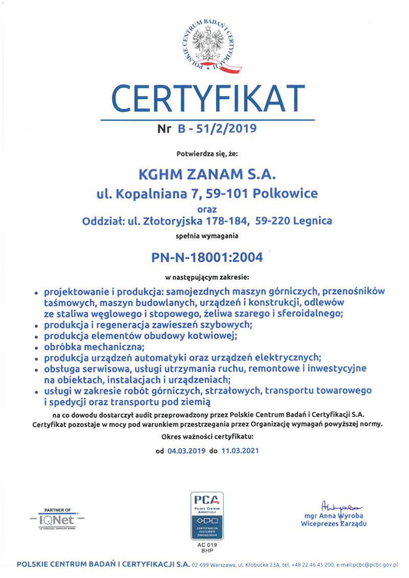 Certyfikat Systemu Zarządzania - Bezpieczeństwo i Higiena Pracy